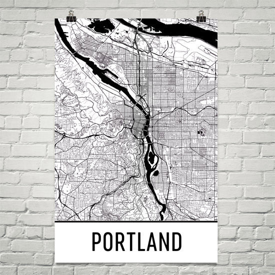 Portland OR Street Map Poster White