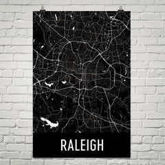 Raleigh NC Street Map Poster Red
