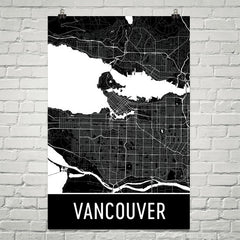 Vancouver BC Street Map Poster Blue