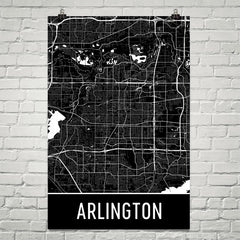 Arlington TX Street Map Poster Blue