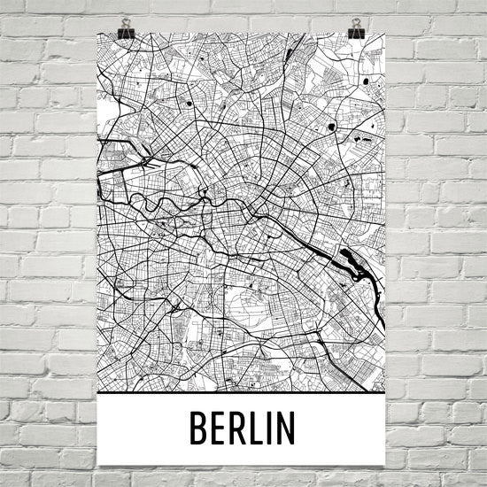 Berlin Germany Street Map Poster White
