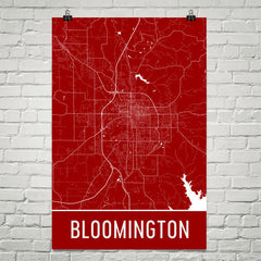 Bloomington IN Map, Art, Print, Poster, Wall Art From $29.99 - ModernMapArt - Modern Map Art