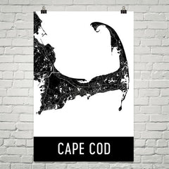 Cape Cod MA Street Map Poster White and Blue