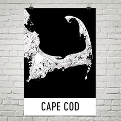 Cape Cod MA Street Map Poster Tan and Blue