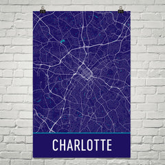 Charlotte NC Street Map Poster Blue