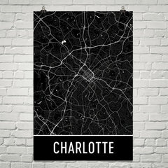 Charlotte NC Street Map Poster Purple