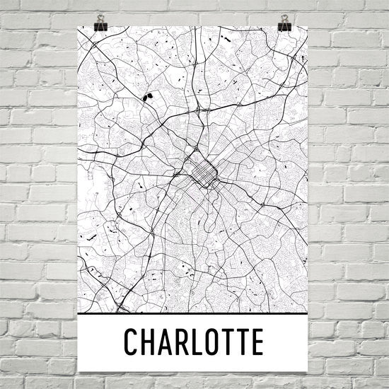 Charlotte NC Street Map Poster White