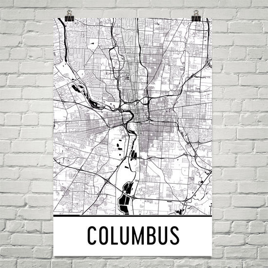 Columbus Street Map Poster Black