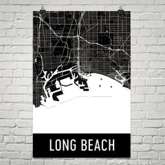 Long Beach CA Street Map Poster White
