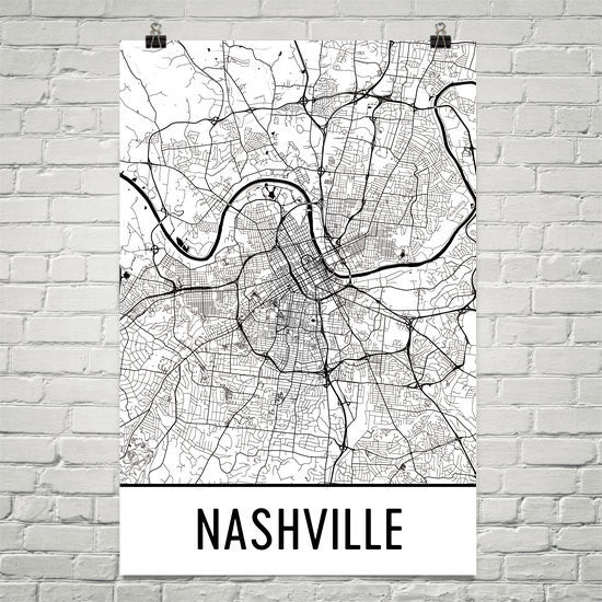 Nashville TN Street Map Poster Black