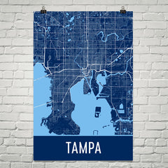 Tampa FL Street Map Poster Blue and Blue