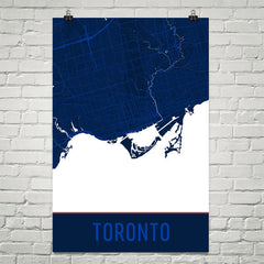 Toronto ON Street Map Poster Red