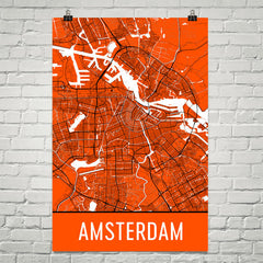 Amsterdam Street Map Poster White