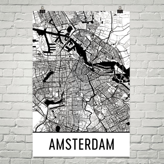 Amsterdam Street Map Poster Black