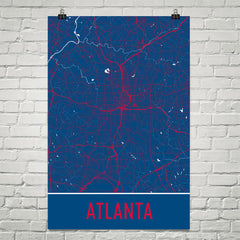 Atlanta Street Map Poster Black and Red