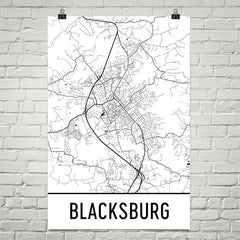Blacksburg VA Street Map Poster Black