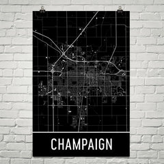 Champaign IL Street Map Poster Blue