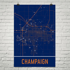 Champaign IL Street Map Poster White