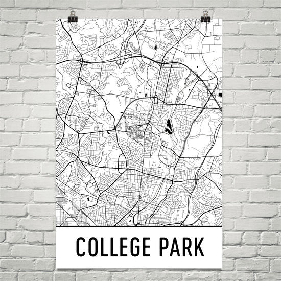 College Park MD Street Map Poster Black