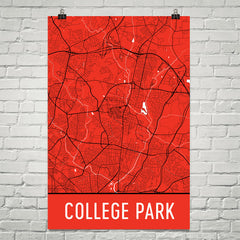 College Park MD Street Map Poster White