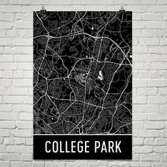 College Park MD Street Map Poster Red