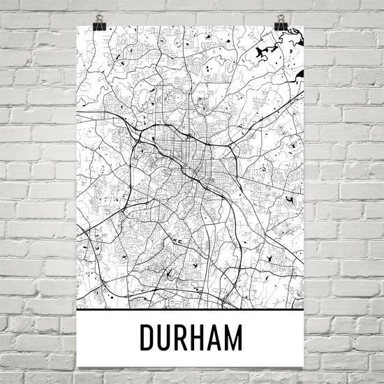 Durham NC Street Map Poster Black