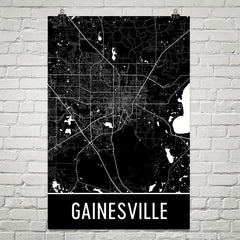 Gainesville FL Street Map Poster Blue