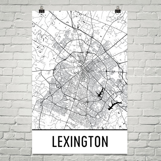 Lexington KY Street Map Poster Black