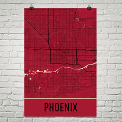 Phoenix AZ Street Map Poster Orange