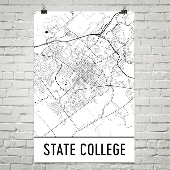 State College PA Street Map Poster Black