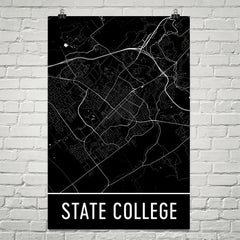 State College PA Street Map Poster Blue