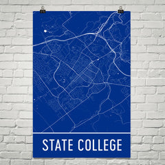 State College PA Street Map Poster White