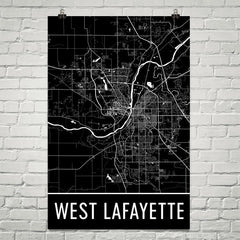 West Lafayette IN Street Map Poster Black and Gold