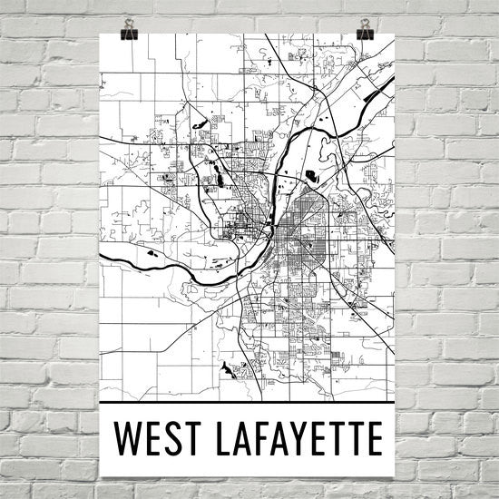 West Lafayette IN Street Map Poster Black