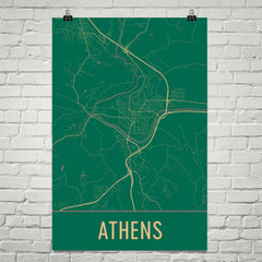 Athens Ohio Street Map Poster White