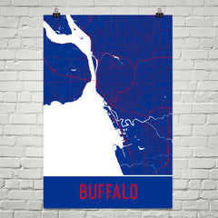 Buffalo NY Street Map Poster Blue and Red