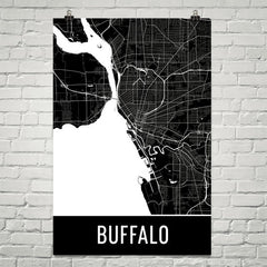 Buffalo NY Street Map Poster Blue and Yellow