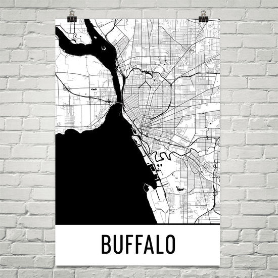 Buffalo NY Street Map Poster Black