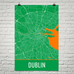 Dublin Street Map Poster White