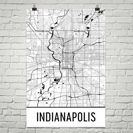 Indianapolis IN Street Map Poster Black