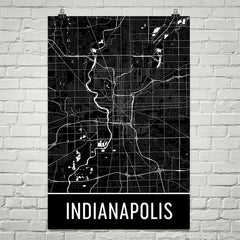 Indianapolis IN Street Map Poster Blue