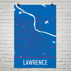 Lawrence KS Street Map Poster White