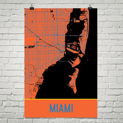 Miami FL Street Map Poster Orange