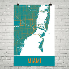 Miami FL Street Map Poster White
