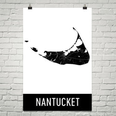 Nantucket MA Street Map Poster Blue