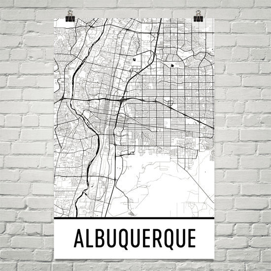 Albuquerque NM Street Map Poster White
