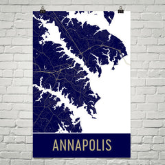 Annapolis MD Street Map Poster Blue