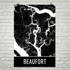 Beaufort SC Street Map Poster Black