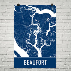 Beaufort SC Street Map Poster Blue