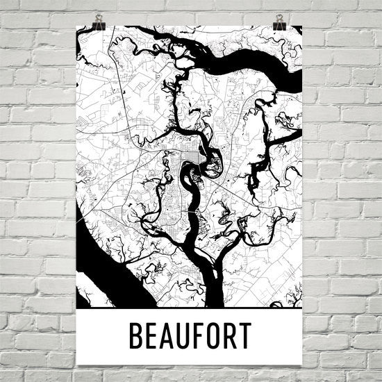 Beaufort SC Street Map Poster White